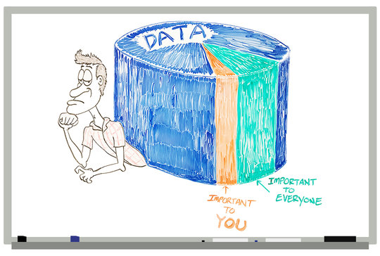 Cartoon of a guy being crushed by a pie chart of data.