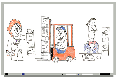 Whiteboard drawing of the warehouseman, the concierge, and the doctor of responsive web design.