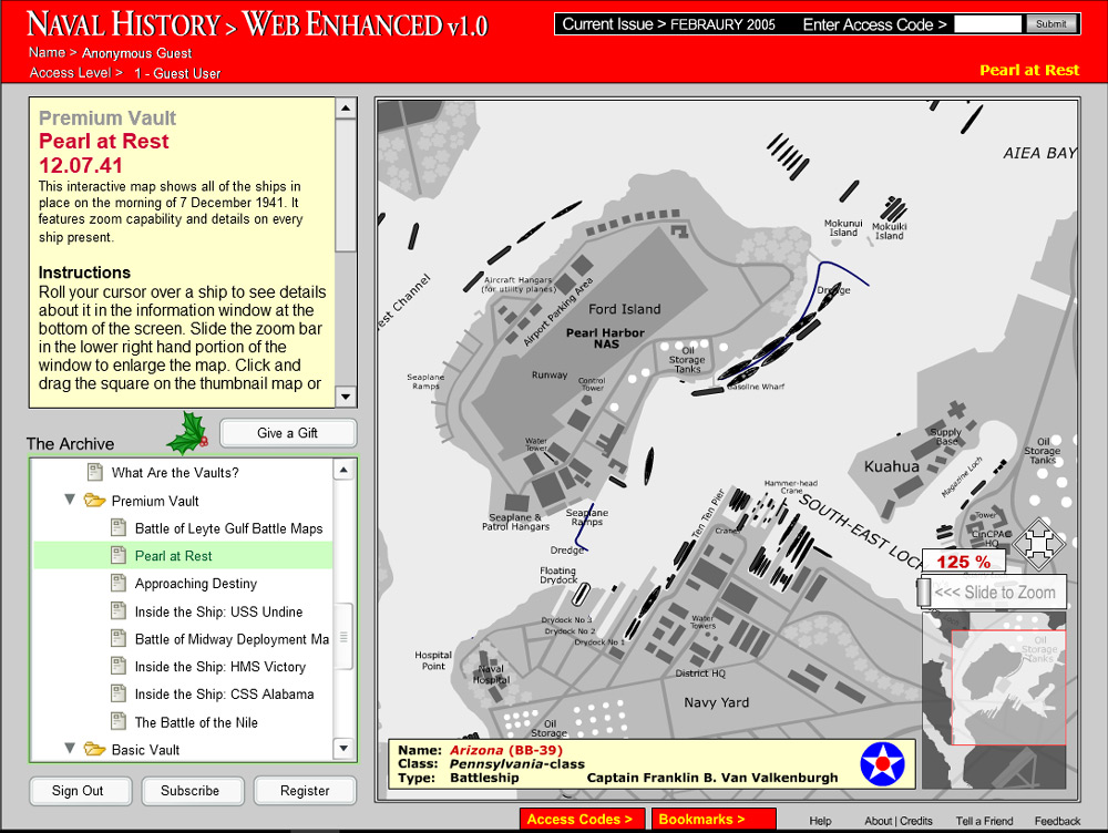 Interactive map of Pearl Harbor