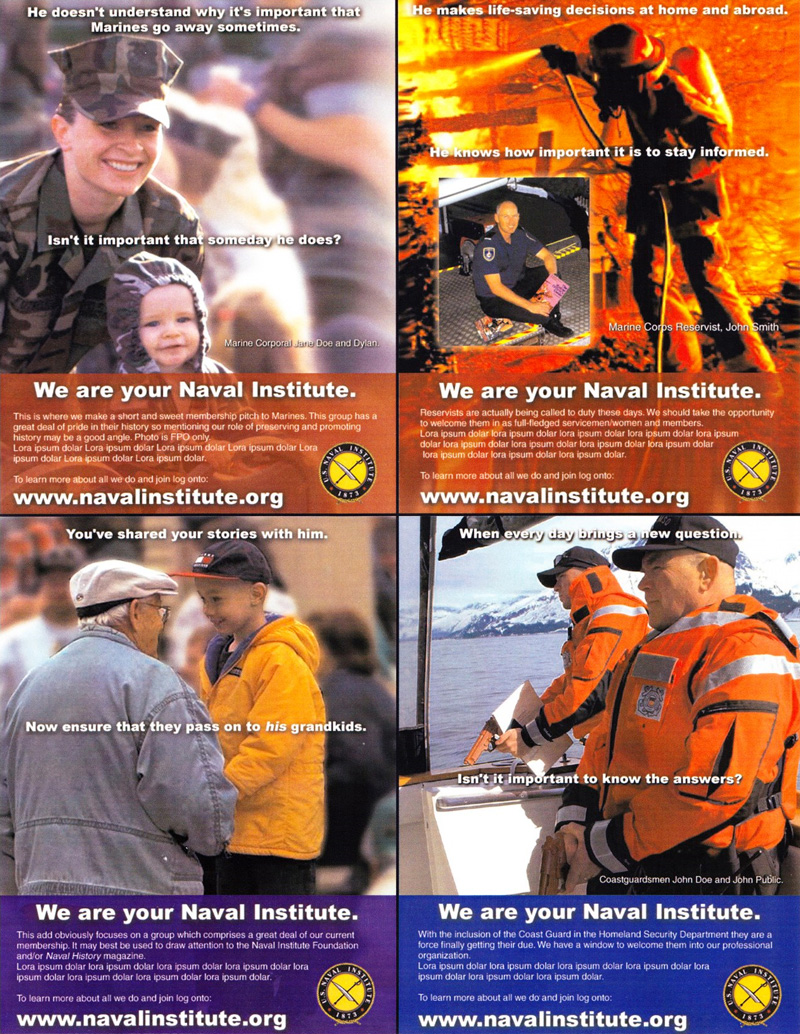 First group of concepts for U.S. Naval Institute outreach
