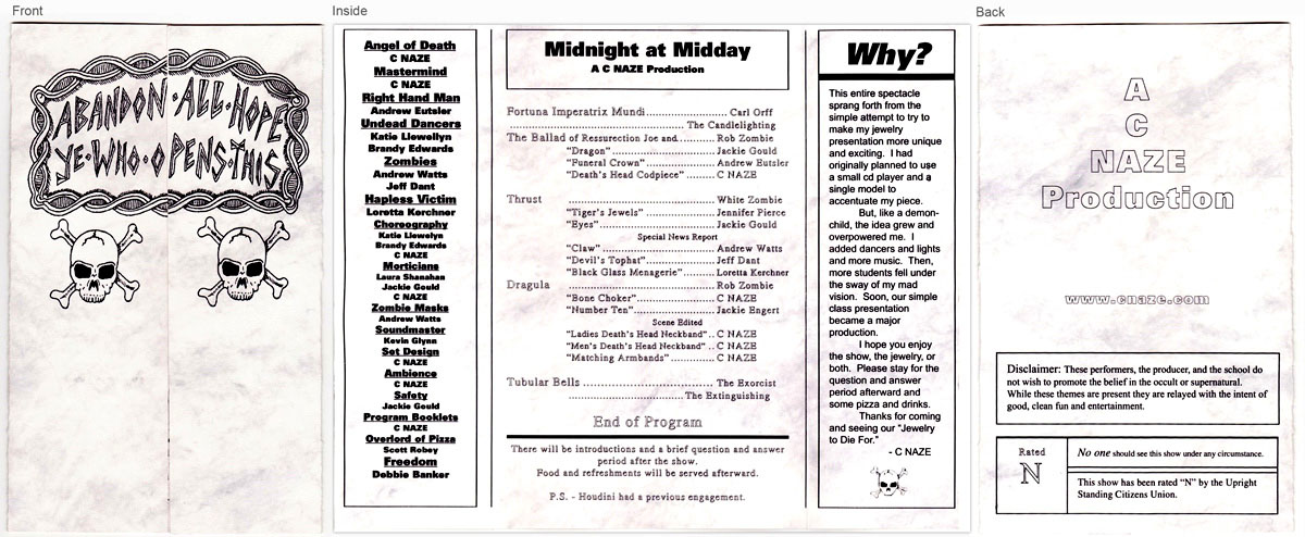 Tri-fold Program for the Midnight at Midday Event