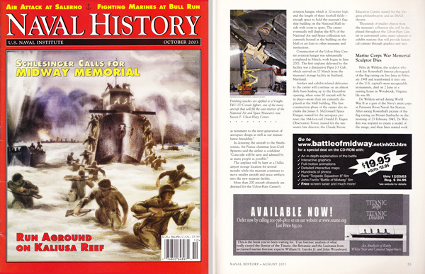Naval History Oct 2003 - Eighth Page Black & White Ad