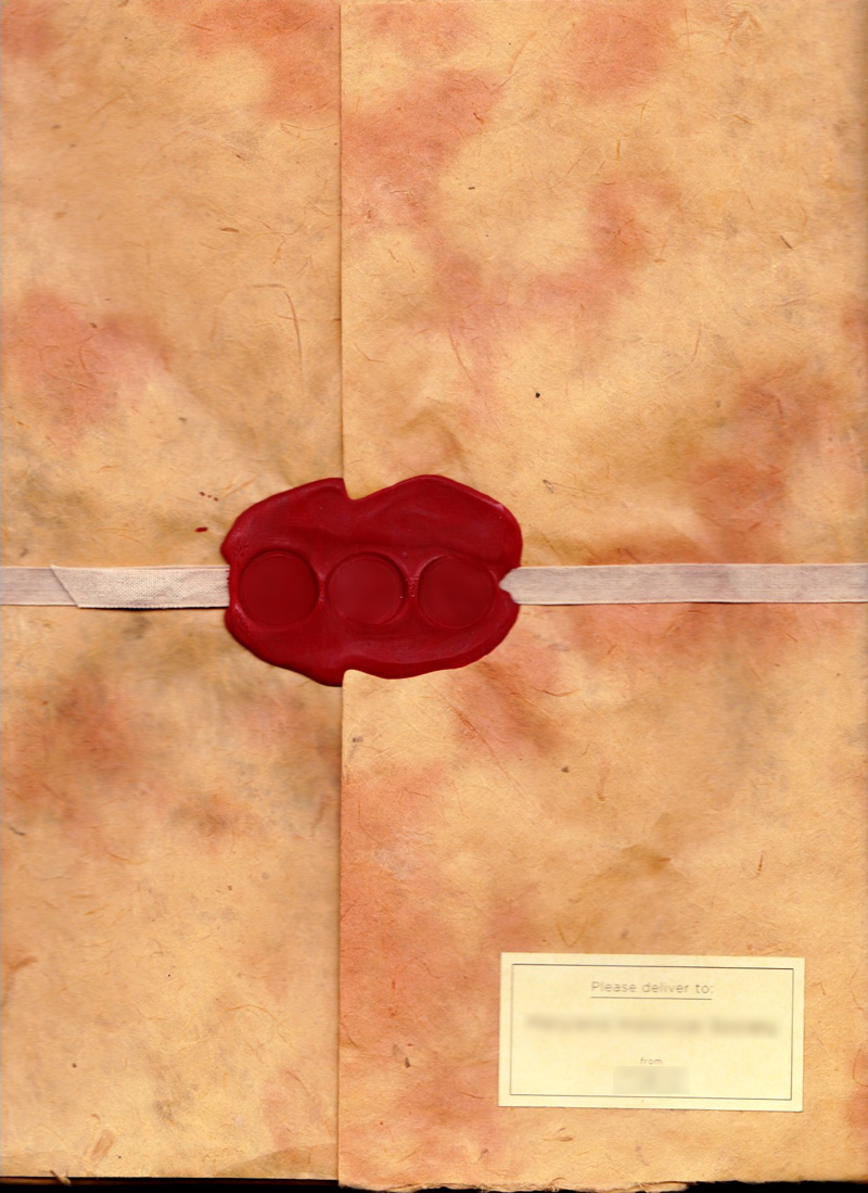 The hand-made envelope that contained a pitch for a history-related organization.