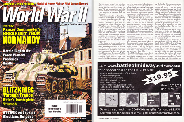 World War II November 2003 - Half Page Black & White Ad